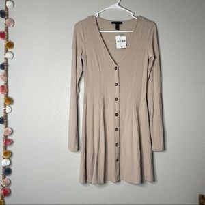 Forever21 Ribbed Knit Button Down Longsleeve Dress